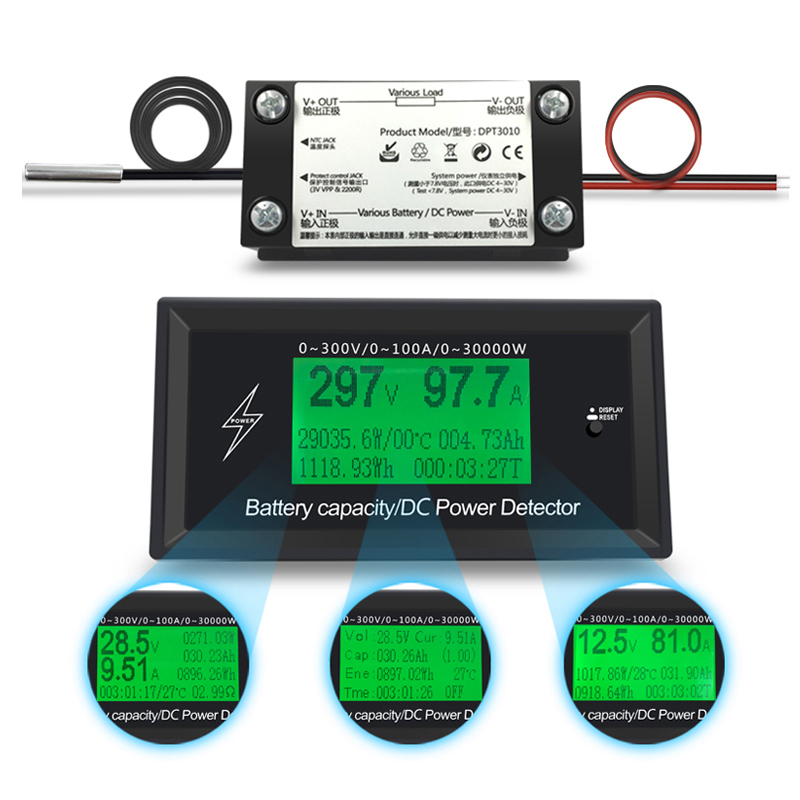 300 v 100A DC digitale voltmetro amperometro tensione auto misuratore di capacità della batteria volt corrente wattmetro rilevatore di potenza tester di alimentazione
