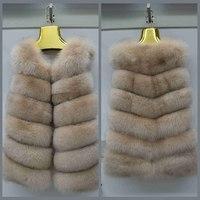 70CM New Autumn Winter Women Real Fox Fur Vest Female Genuine Fox Fur Coat Leather Jacket Warm Lady Gilet Natural Fox Fur