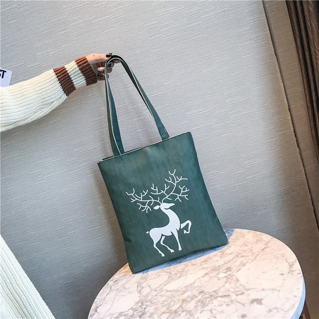 Elk Deer Printed Pu Leather Vertical Shoulder Tote Bag Portable Ping Per Bags Women Lady Handbags