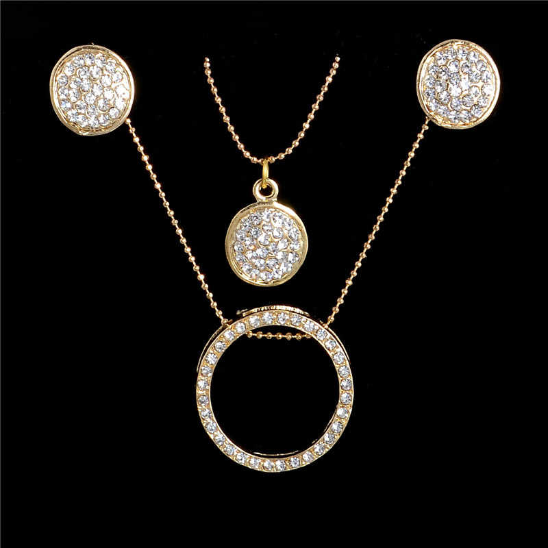 Gold Color Crystal Jewelry Sets Women Fashion Round Multilayer Chain Necklace with Drop Earrings