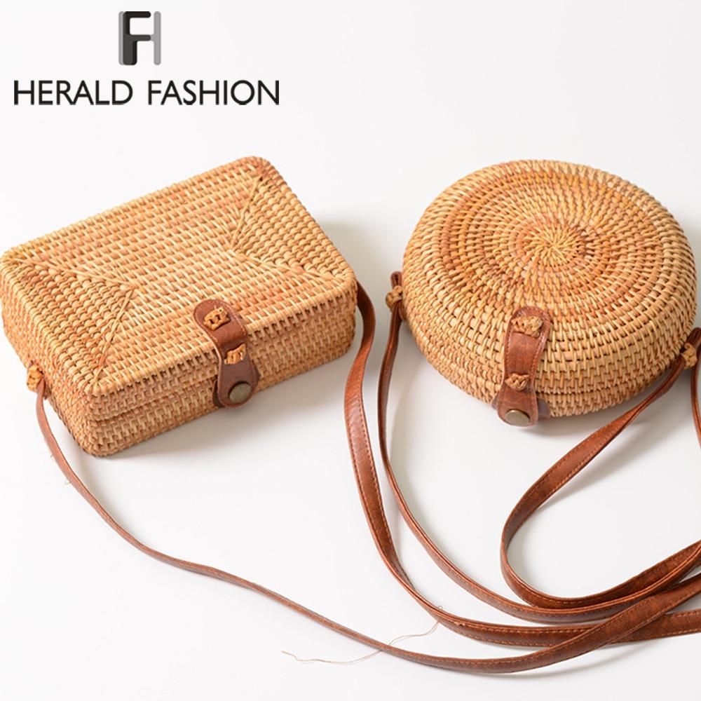 Herald Fashion New Round Straw Bags Women Summer Rattan Bag Handmade Woven Beach Cross Body Bag Circle Bohemia Handbag Bali Box