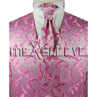 Hot seller!!! man's formal suit pink wedding waistcoats 4pcs