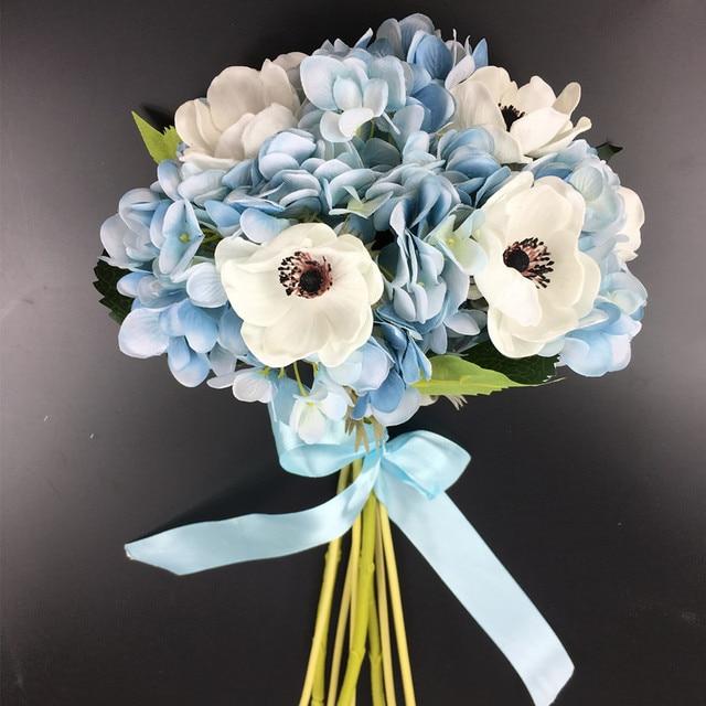 Indigo Exclusive Sales 10pcs Blue Hydrangeawhite Poppy Flower