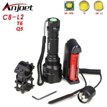 Anjoet C8 High Power Tactical Flashlight XM-L L2 T6 LED torch 1Mode /5Mode lanterna Bike Self defense Hunting light lamp 18650