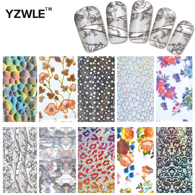 YZWLE 10 Designs Nail Art Full Tips Wraps DIY Transfer Foil Decals Foils Polish Adhesive Wraps #XKT-N21 designs nail art transfer foils sticker 12pcs lot hot beauty free adhesive nail polish nail tips decorations accessories
