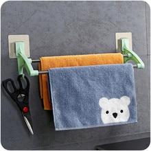 Yooap E063 Bathroom Kitchen Towel Hanger 35cm Double Rod Stainless Steel Hand Holder Strong Non-marking Paste Rack