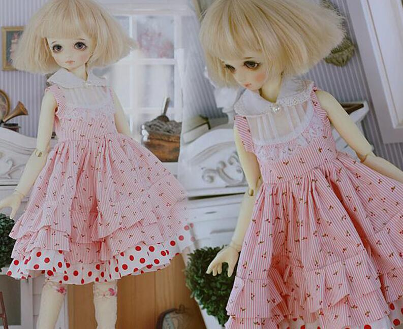 New 1/3 1/4 1/6 SD MSD YOSD BJD Doll Clothes pink Wave point Girl Dress/Skirt/Suit new black lace evening dress with sequins for bjd girl 1 3 1 4 msd doll clothes
