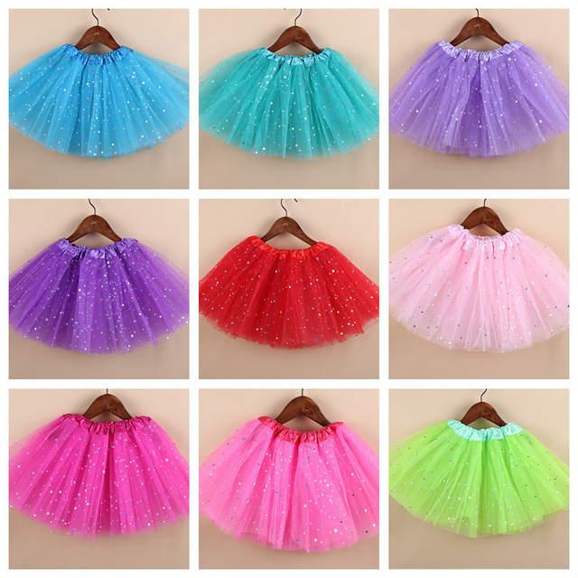 4f8b652c9 Bebé niña Tutu faldas de 3 capas de tul estrella brillo lentejuelas niño  vestido niños Ballet falda de gasa/República de Corea meisje 5-10 T