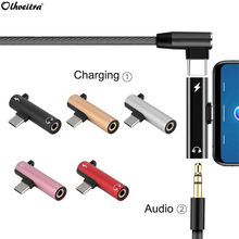 Olhveitra 2 In 1 USB-C Headphone Jack Adaptor untuk Xiao Mi Mi 9 Huawei Samsung S10 Plus USB C Adaptor Audio tipe C Charger Kabel(China)