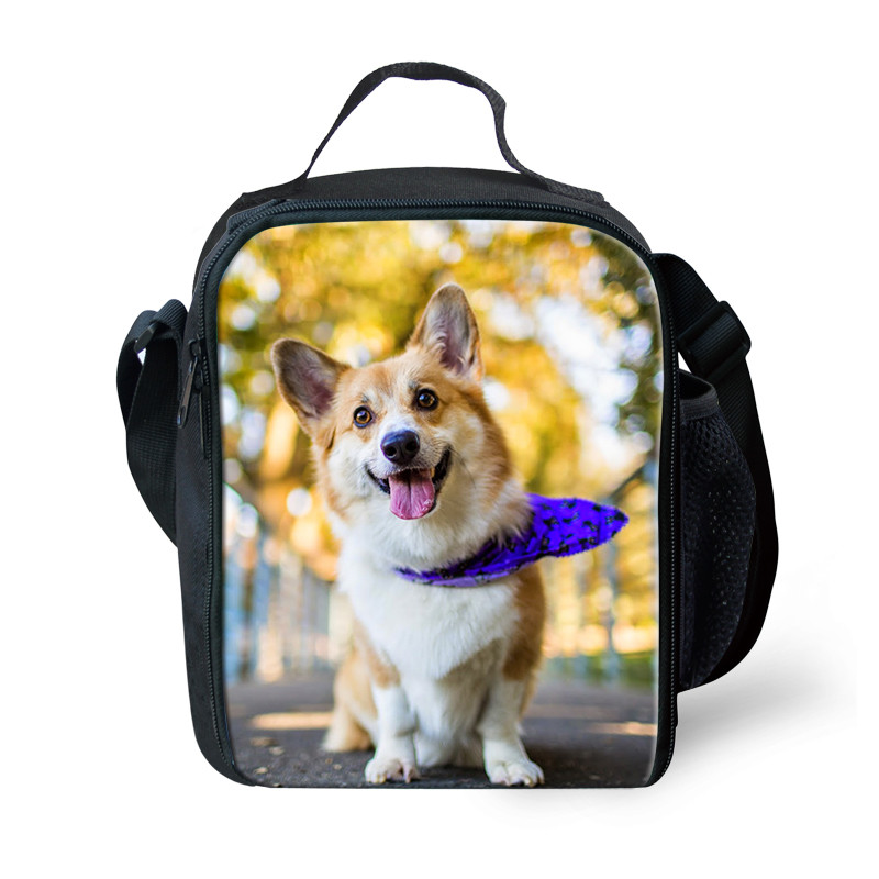 THIKIN Cute Welsh Corgi Pembroke 3D Printing Kids Insulated Lunch Bag Tote For Women Kids Keep Warm Child Portable Picnic Bag
