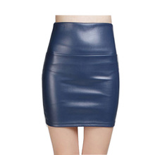 2016 New fashion Women faux pu Leather skirt high waist party clothing female short pencil woman