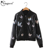 TANGNEST Women Jacket Autumn 2016 Fashion New Arrival Butterfly Embroidery Solid Black Long Sleeve Young Ladies Jacket WWP174