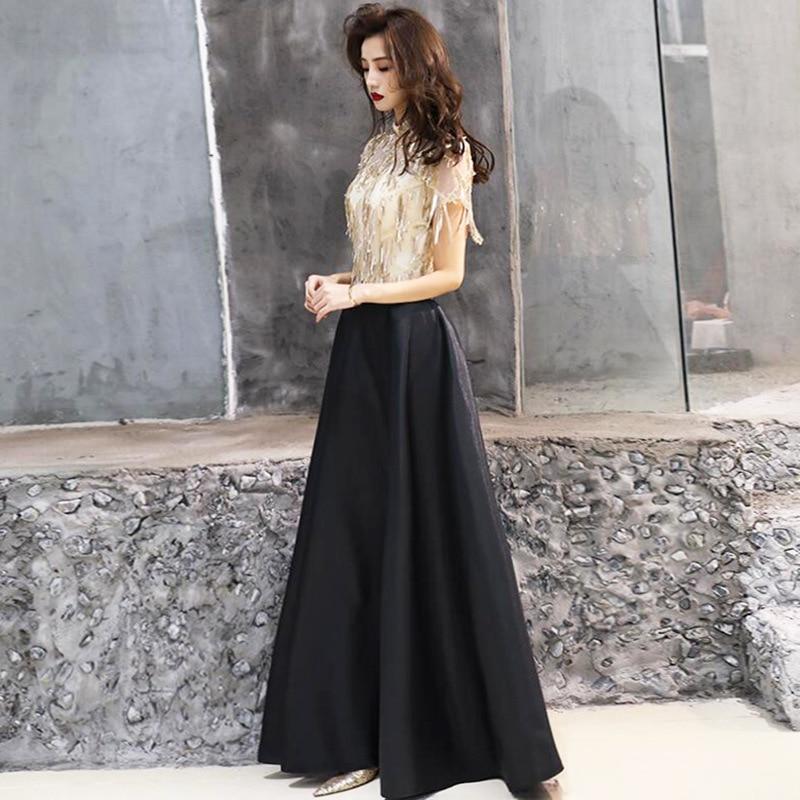 Robe de soirée longue au sol mode Champagne noir Patchwork couleur robe de soirée formelle gland fermeture éclair longue a-ligne robes de bal E096