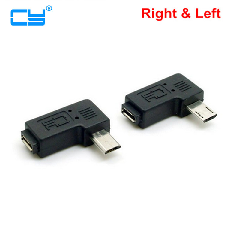 9mm Long Plug Connector 90 Degree Right & Left Angled Micro USB 2.0 5Pin Male To Female M To F Extension Connector Adapter
