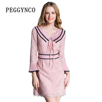 Spring Casual Long Sleeve Lace Dress Wrist Sleeve Elegant Lace Floral Pink Mini Dress Above Knee