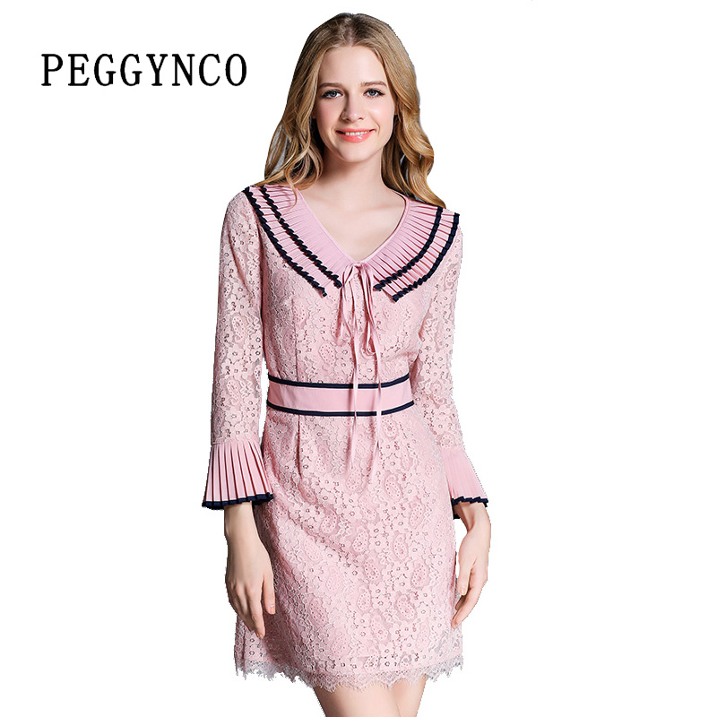 Spring Casual Long Sleeve Lace Dress Wrist Sleeve Elegant