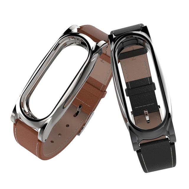 Mijobs Leather Strap For Xiaomi Mi Band 2 Wrist Straps Screwless Bracelet miband2 Smart Band Replace Accessories For Mi Band 2