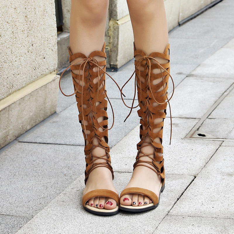 2018 New Summer Women Lacing Knee-High Flat Boots Hollow Out Women Summer Shoes Comfortable Open Toe Boots