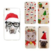 Capinha para Celular Bonito Animais Gato Cão Feliz Natal Papai Noel para iphone 5 5s 6 6 s 6 plus silicone tpu macio
