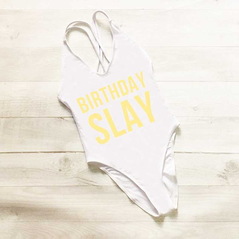 bef5a605a3 ... BIRTHDAY SLAY One Piece Swimsuit Sexy Thong Swimwear Women High Waist Bathing  Suit Girls Backless Monokini ...