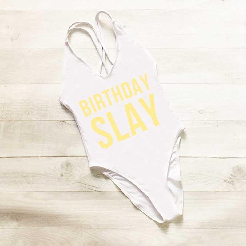 df00ad51c2b ... BIRTHDAY SLAY One Piece Swimsuit Sexy Thong Swimwear Women High Waist  Bathing Suit Girls Backless Monokini ...