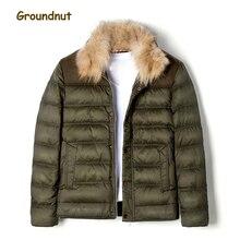 Groundnut Brand Natural Raccoon Fur Collar Men's Duck Down Coat Outerwear Men Block Color Thickening Warm Winter Down Jackets