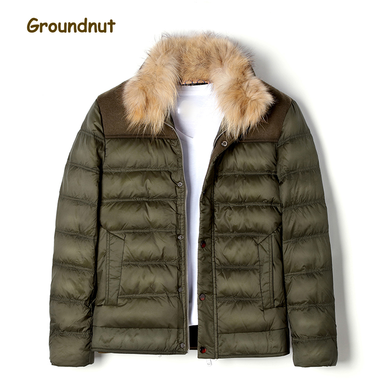 Groundnut Brand Natural Raccoon Fur Collar Mens Duck Down Coat Outerwear Men Block Color Thickening Warm Winter Down Jackets
