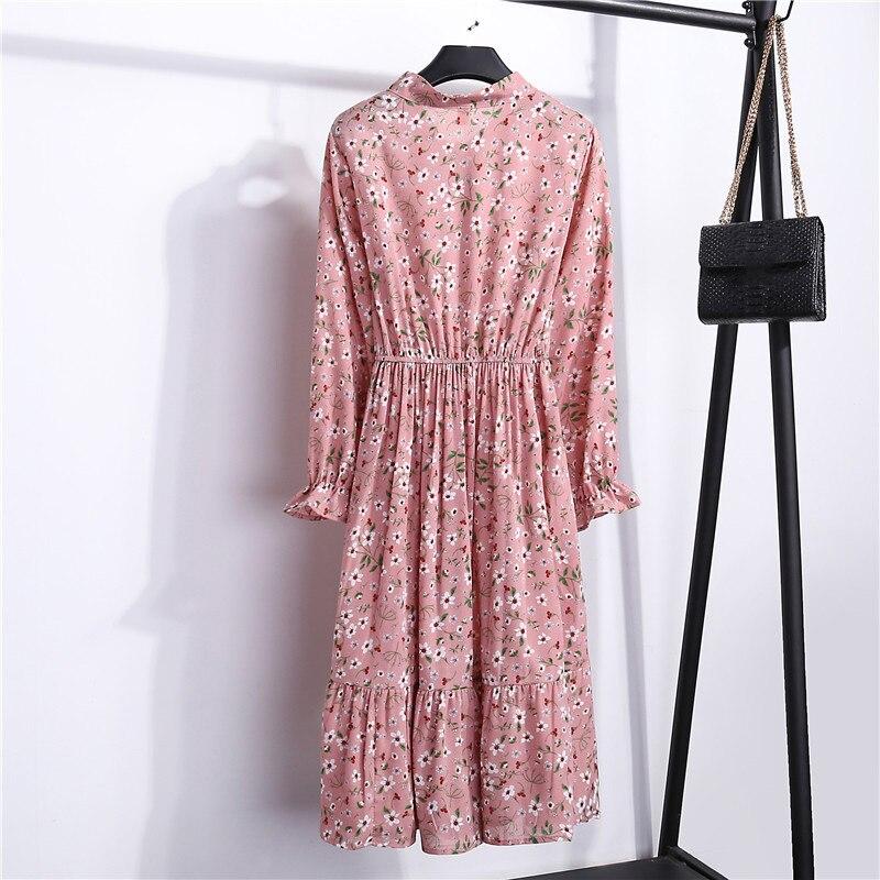 Summer Korean Chiffon Women Dress Elegant Ladies Vintage Long Dress Boho Floral Office Long Sleeve Vestidos Clothing 5LYQ003 37