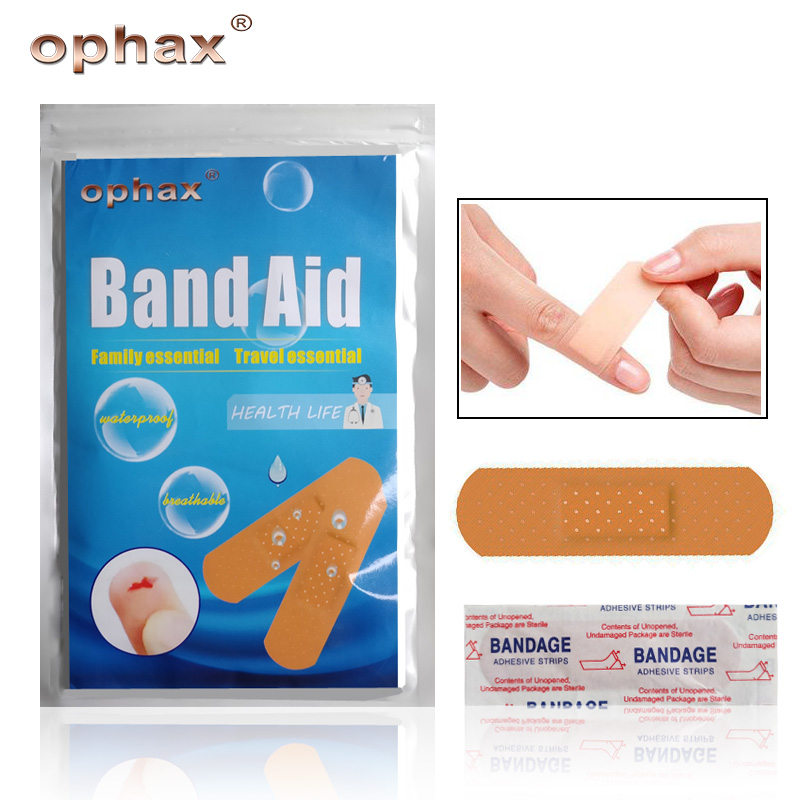 OPHAX 50Pcs Waterproof Band Aid Adhesive Bandage Wound Dressings Sterile Hemostasis Stickers First A