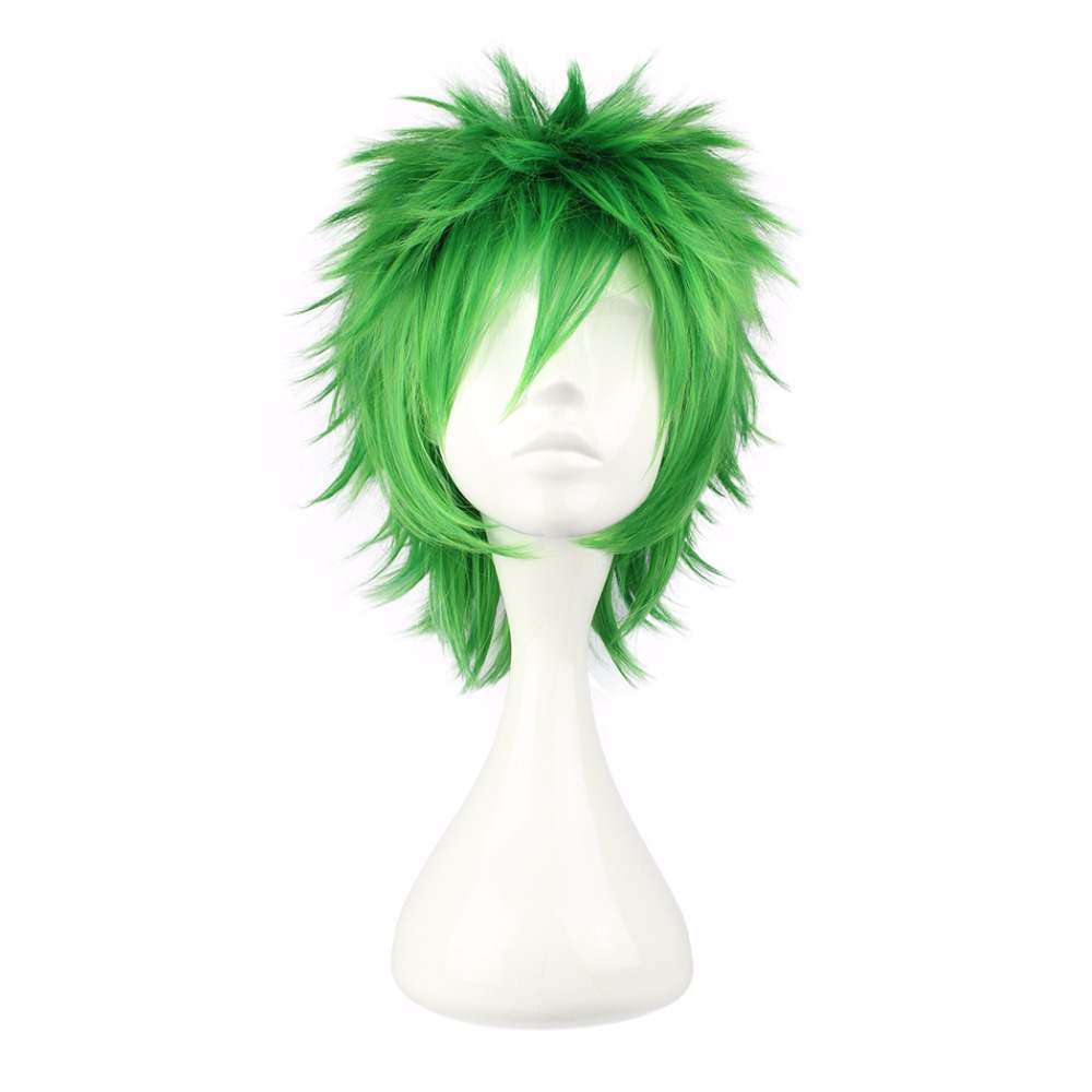 MCOSER Free Shipping 35cm Short Cosplay Wig Synthetic Green Color 100% High Temperature Fiber Hair WIG-258A
