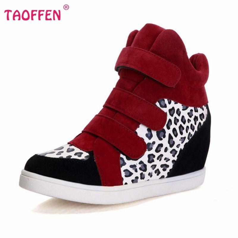 SıCAK Yeni 2016 Marka Sonbahar Kadın Kış Ayakkabı Leopar Süet Ayak Bileği Çizmeler Topuklu Platformu Kama Yüksekliği Artan boyutu 35-39