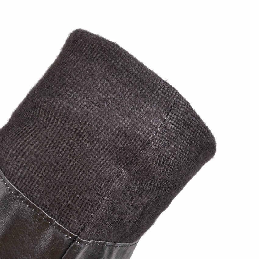 ESVEVA 2020 kadın botları PU deri moda yuvarlak ayak diz yüksek çizmeler üzerinde kayma sentetik platformu bayanlar uzun ayakkabı boyutu 34-43