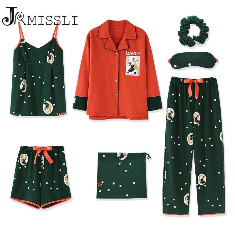 JRMISSLI Casual Cotton Women 7 Pieces Pajamas Sets Women Pajamas Sleepwear Sets Spring Summer Autumn Homewear Top And Shorts
