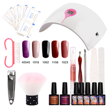 Nail Gel Soak-off Gel polish Top & Base Coat gel nails polish kit 24w 9C lamp 5 colors art tools kits sets manicure 3 pcs set kit lvmay brand painting gel polish nail art color 3d drawing paint curing lamp soak off professional nails top it off