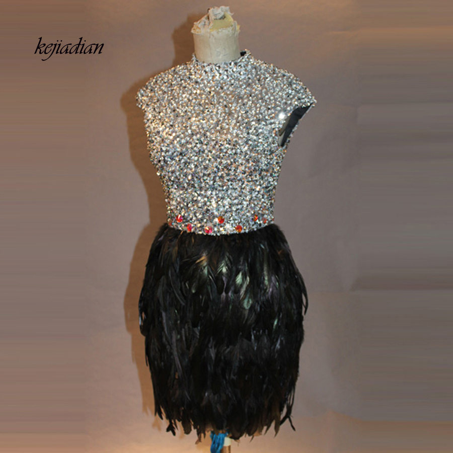 Real Luxury Crystal Feather Party Cocktail Dresses Black Straight High Neck 2017 Women Mini Prom Gowns robe de cocktail