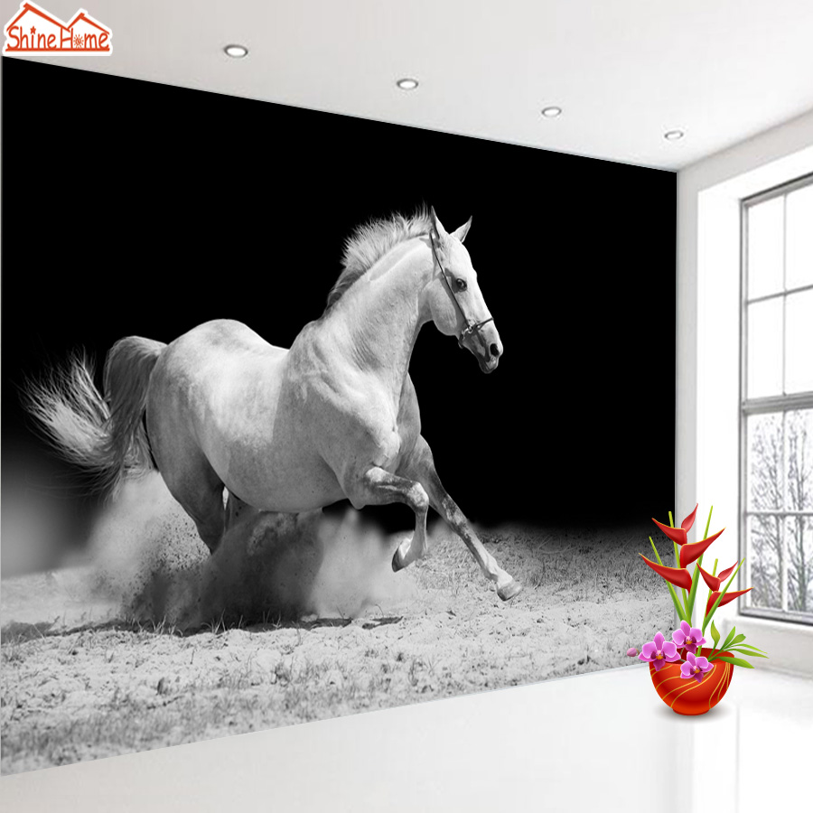 ShineHome-Running Horse Black and White Animal Wallpaper for Murals Roll for 3d Walls Wallpapers for 3 d  Living Room Wall Paper shinehome europe church black and white painting wallpaper wall 3d murals for walls 3 d wallpapers for livingroom 3 d mural roll
