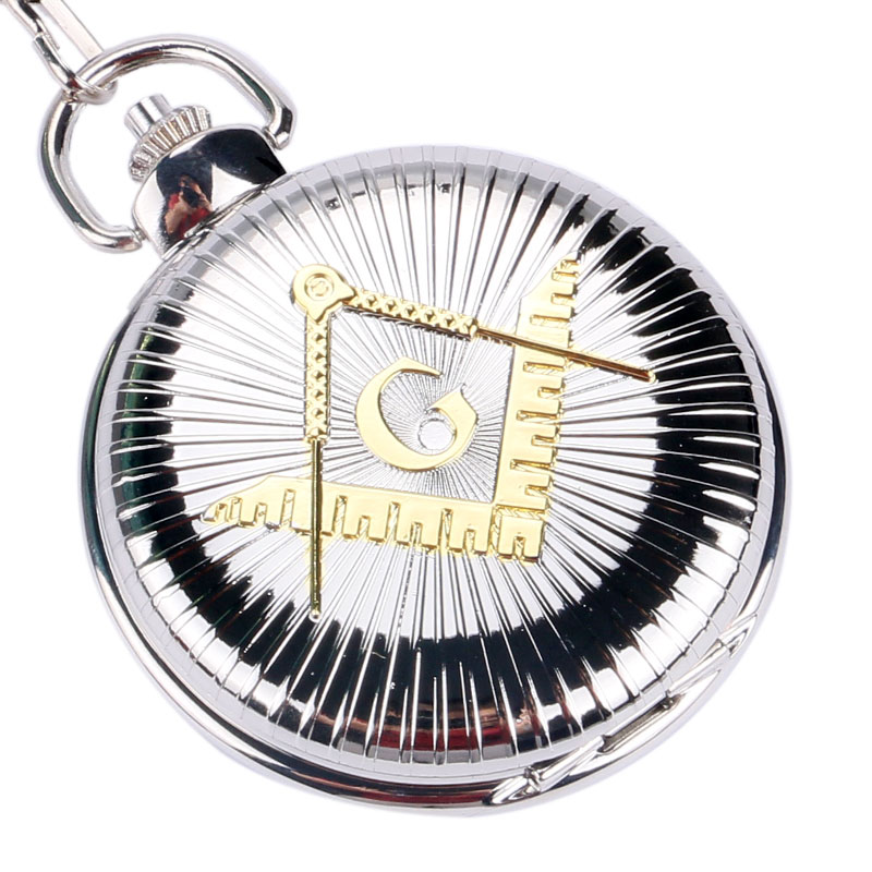Silver Pocket Watch Freemason Necklace Pendant Wathes Masonic Male Gift hot masonic freemason freemasonry pocket watch fashion silver golden alloy fob watch with necklace chain free shipping