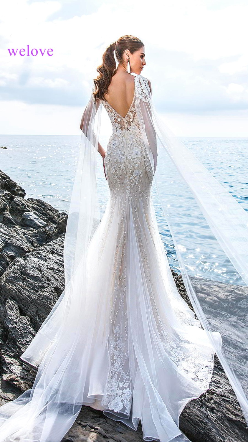 Robe de mariee New arrival 2019 Summer Beach Wedding Dress with Straps White Open Back Mermaid Wedding Dresses Vestige De Noiva
