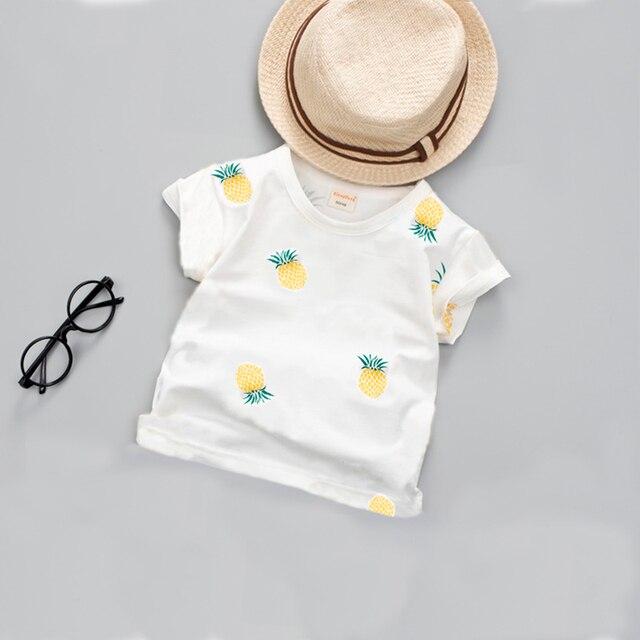 2019 new toddler Baby New Summer Boys T Shirt Kids Tops Cartoon Pineapple Pattern Girls T-shirt Boys Clothes Children T Shirts