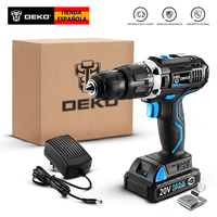 DEKO GCD20DU3 SET1 Woodworking Tools 15+2 Settings Lithium Ion Batteries LED Driver Professional Fast Charger Cordless Drill