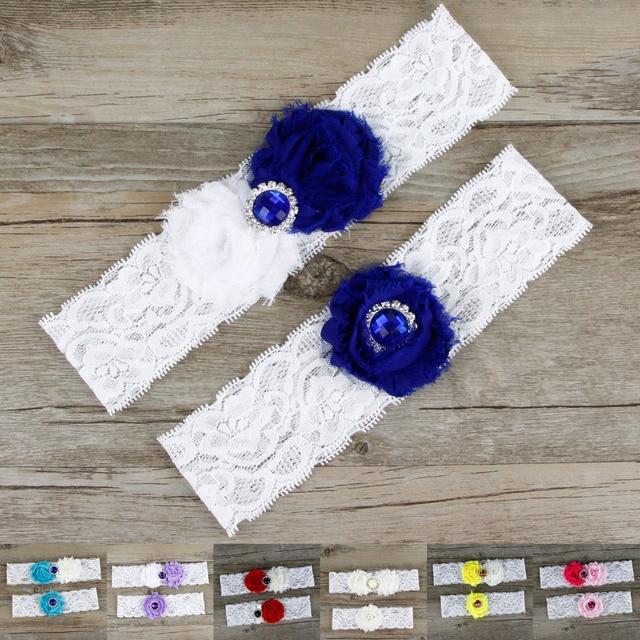 ac9c48073 2pcs Lot Popular Wedding Garters Set Royal Blue Beaded Bridal Toss Garter  White Lace Customize