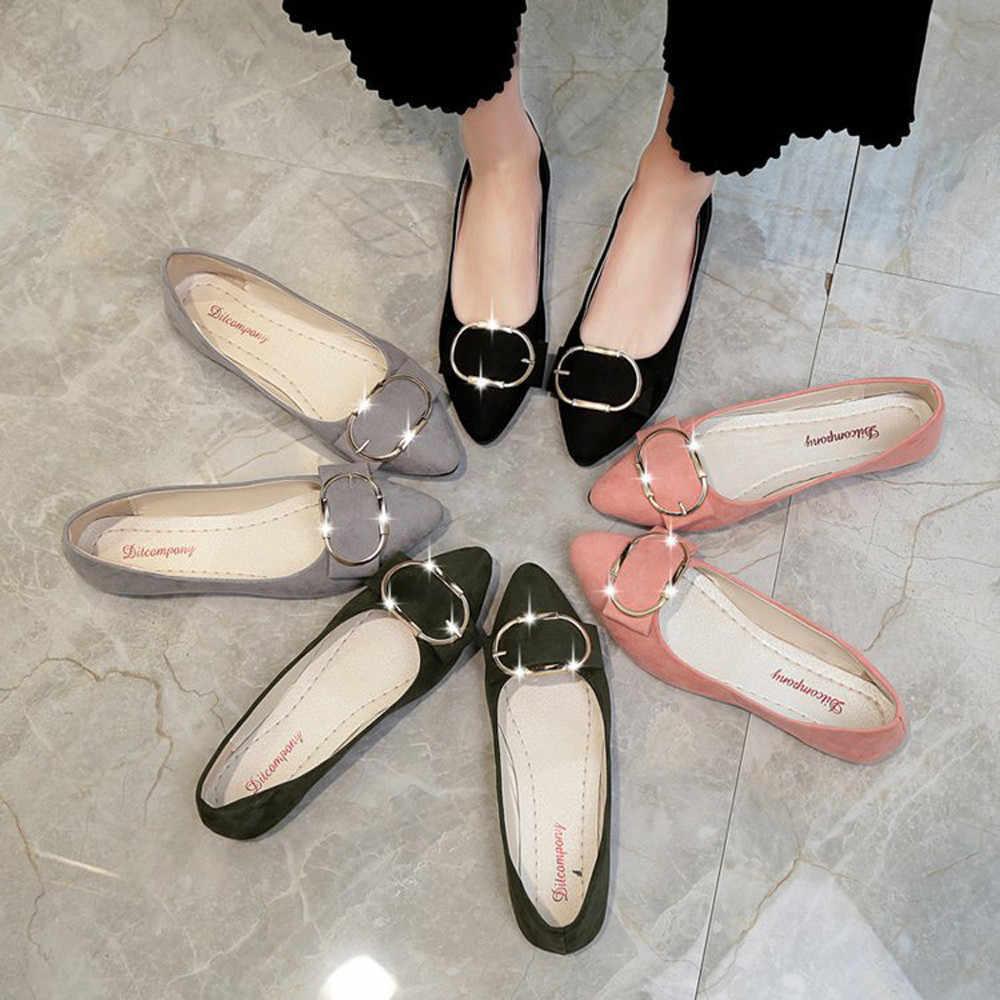 Mode femmes plat unique chaussures daim ceinture boucle talon bout pointu dames d'été chaussures décontractées Enkele schoenen Enkele schoenen