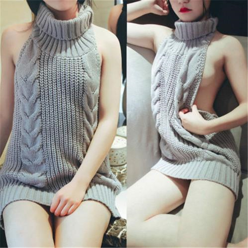 New Sexy Japanese Long Section Halter Sleeveless Lace Knit Skirt Ladies Sexy Onesies