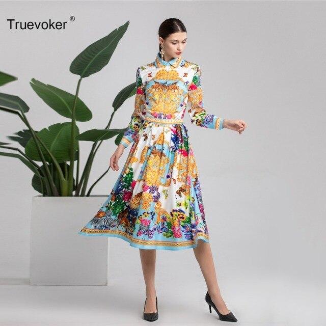 Truevoker Spring Designer Suit Set Women s High Quality Roayl Baroque Printed  Blouse Top + Midi Skirt Suit For Holiday c92034b38466