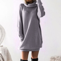 Autumn Dress 2018 TurtleNeck Short Long Sleeves Tunic Warm Fashion Bodycon Casual Fall Vestidos Cloting WS5300Y