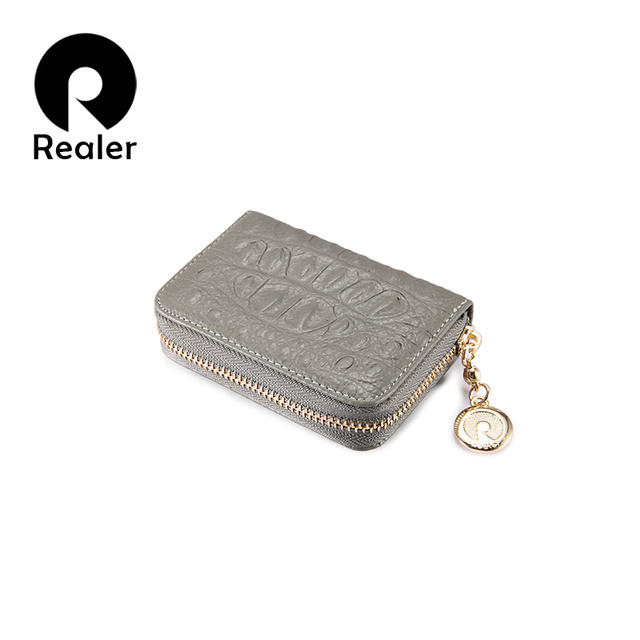 Realer Credit Card Holders Genuine Leather Coin Purse Female Business Id Holder Zipper Small Women