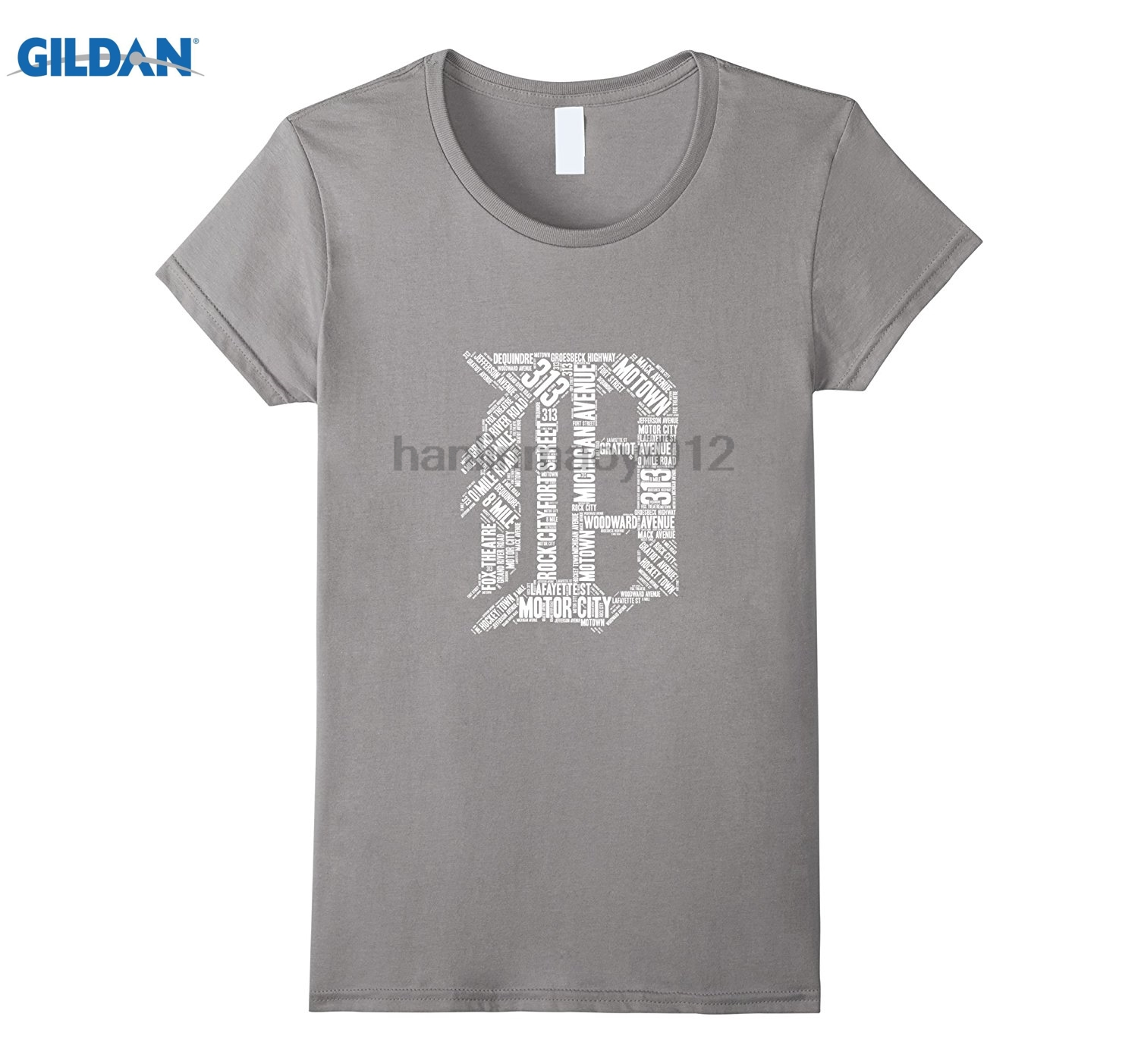 GILDAN Detroit T Shirt Graphic D Womens T-shirt ...