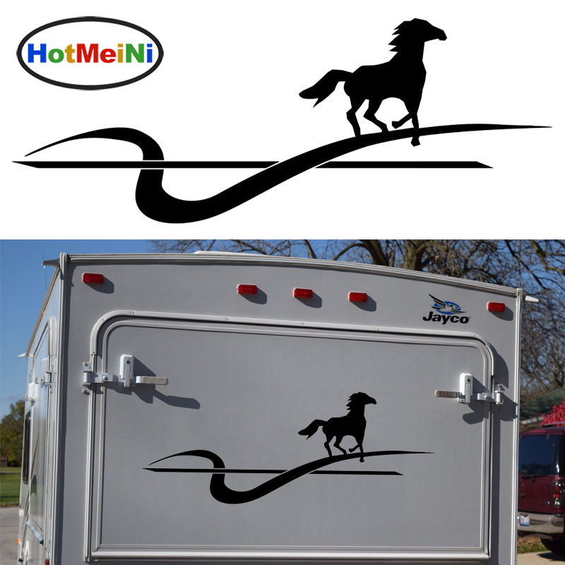 HotMeiNi Running Galloping Horse Graphic Hard Work Topic Car Sticker Motorhome Caravan Travel Trailer SUV Dynamic Decals Vinyl