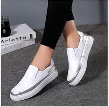 De alta Calidad de Las Mujeres Zapatos de Cuero Genuinos Mocasines Slip On Zapatos de Los Planos negro Plata inferior suave zapatos de los estudiantes