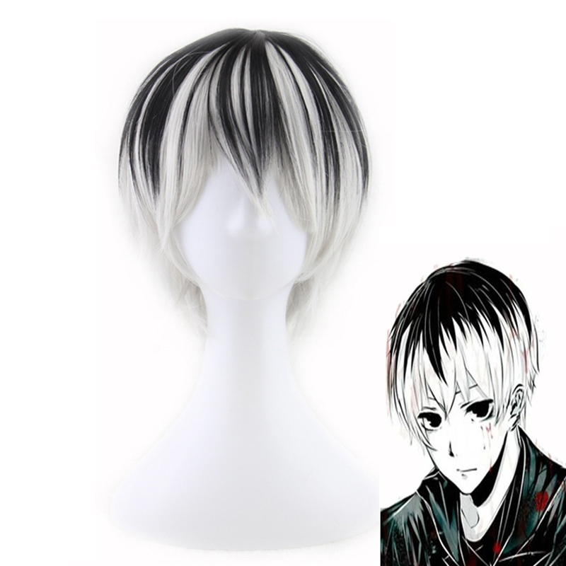 Tokyo Ghoul Men's Short Black Grey Synthetic Wigs for Halloween Cosplay Costumes for Men Adult Coser Peruca Peluca Perruque